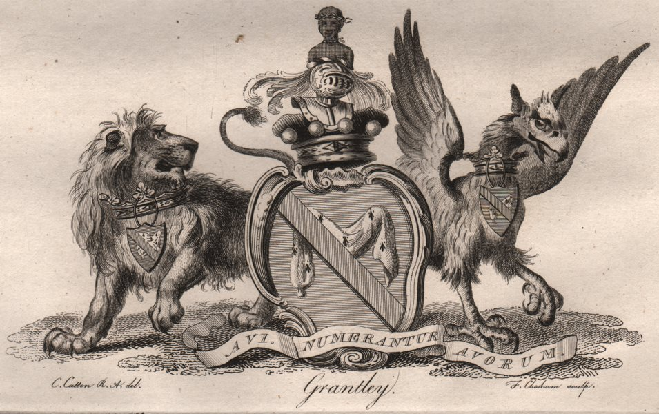 Associate Product GRANTLEY. Coat of Arms. Heraldry 1790 old antique vintage print picture