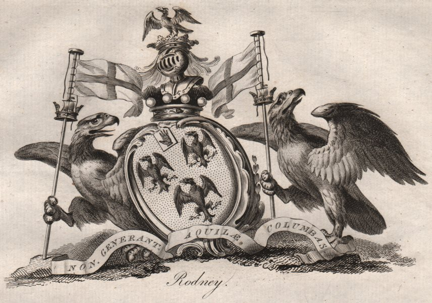 Associate Product RODNEY. Coat of Arms. Heraldry 1790 old antique vintage print picture
