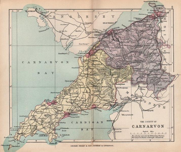 "Associate Product CAERNARFONSHIRE. ""County of Carnarvon"". Bangor Conwy Wales. BARTHOLOMEW 1896 map"