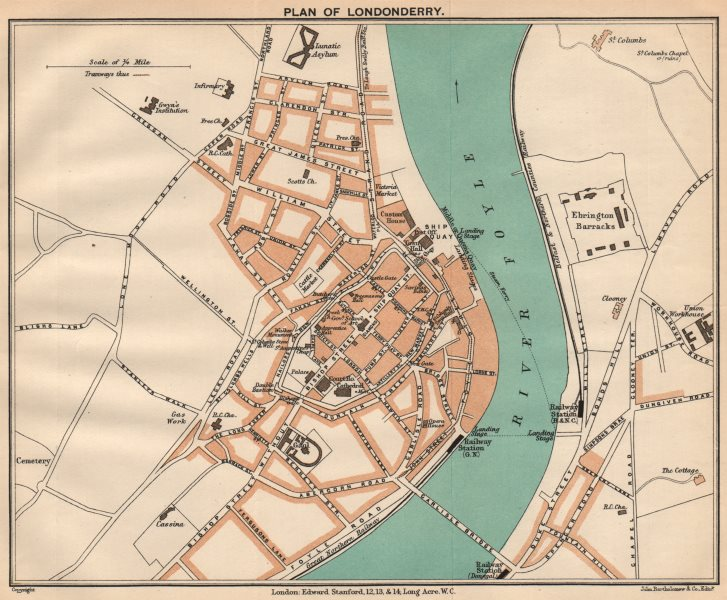 Associate Product LONDONDERRY. Town plan. Ulster. Ireland. STANFORD 1908 old antique map chart