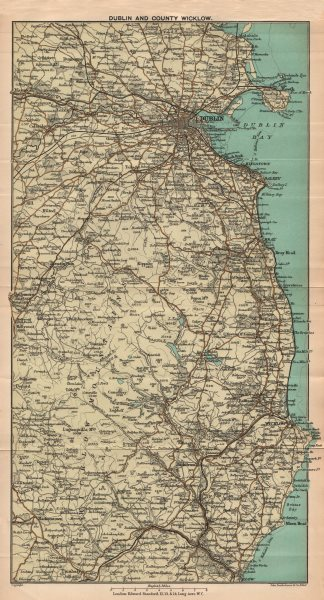 Associate Product IRELAND. Dublin and County Wicklow. Coast. STANFORD 1908 old antique map chart