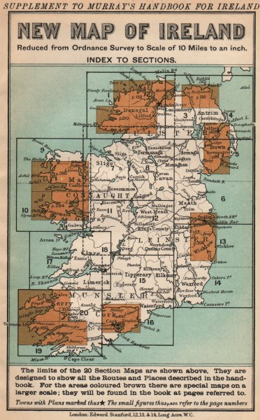 Associate Product IRELAND. Index map. Murray guide. STANFORD 1908 old antique plan chart