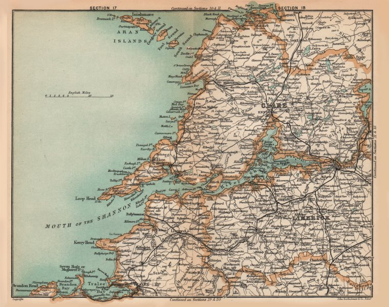 Map Of Shannon Ireland.Details About Munster Kilkee Limerick Shannon Ireland Stanford 1908 Old Antique Map Chart