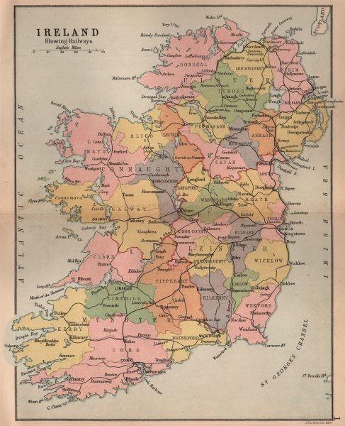 Associate Product IRELAND. showing railways counties & provinces. BARTHOLOMEW 1882 old map