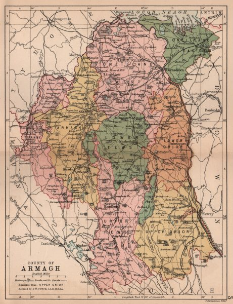 Associate Product COUNTY ARMAGH. Antique county map. Ulster Portadown. N.Ireland. BARTHOLOMEW 1882