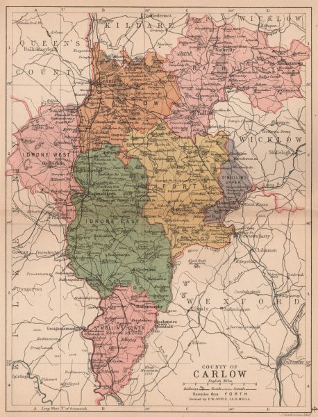 Associate Product COUNTY CARLOW. Antique county map. Leinster. Ireland. BARTHOLOMEW 1882 old