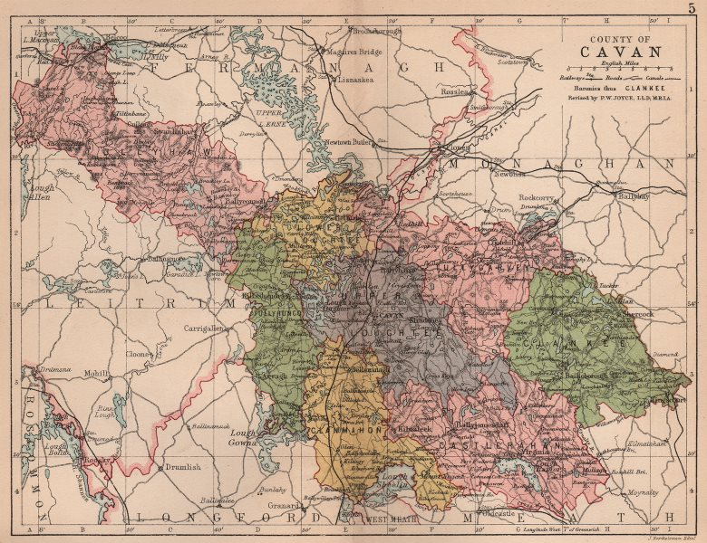 Associate Product COUNTY CAVAN. Antique county map. Ulster. Ireland. BARTHOLOMEW 1882 old