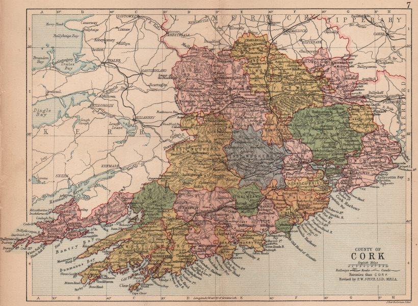 Associate Product COUNTY CORK. Antique county map. Munster. Ireland. BARTHOLOMEW 1882 old