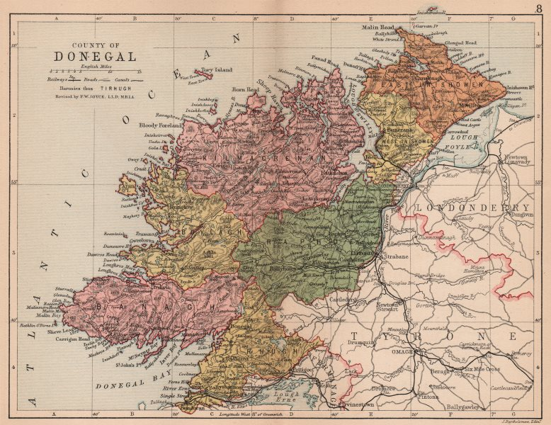 Donegal Map Of Ireland.County Donegal Antique County Map Ulster Ireland Bartholomew