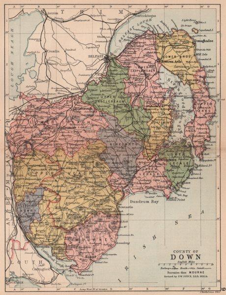 Associate Product COUNTY DOWN. Antique county map. Ulster Belfast Lisburn Bangor. BARTHOLOMEW 1882