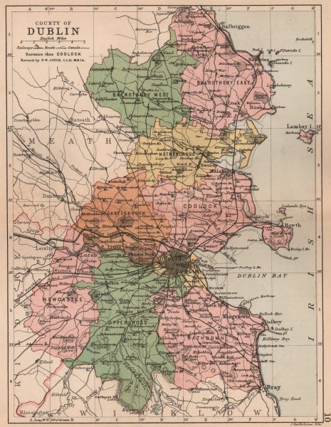 Associate Product COUNTY DUBLIN. Antique county map. Leinster. Ireland. BARTHOLOMEW 1882 old