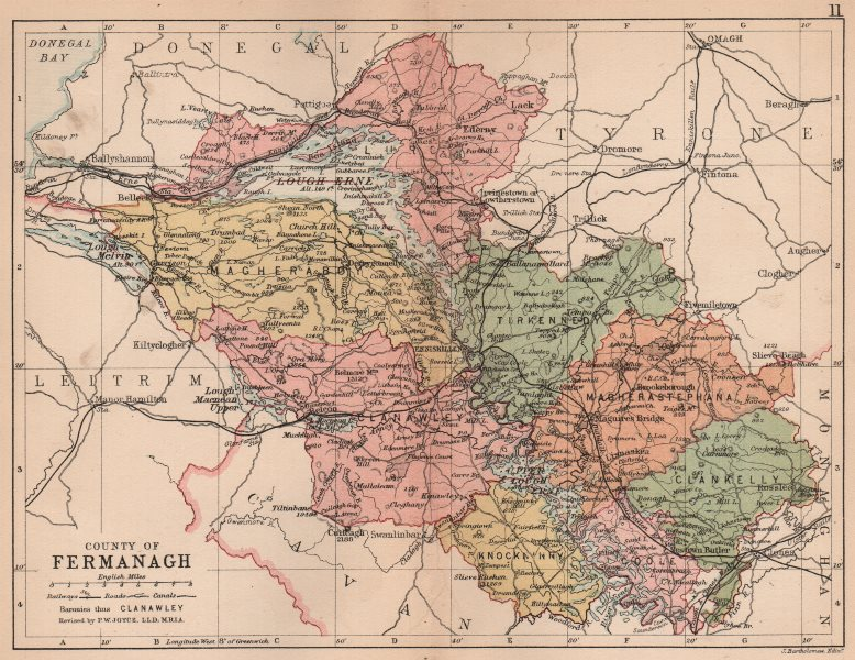 Associate Product COUNTY FERMANAGH. Antique county map. Ulster. Northern Ireland. BARTHOLOMEW 1882