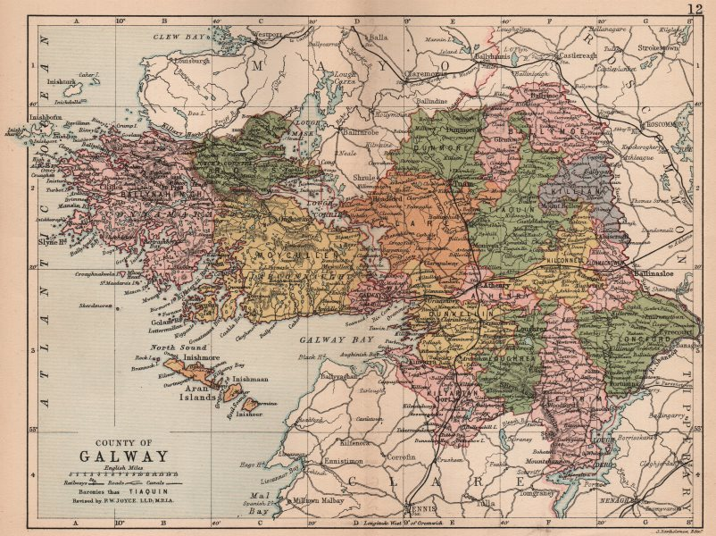 Associate Product COUNTY GALWAY. Antique county map. Connaught. Ireland. BARTHOLOMEW 1882