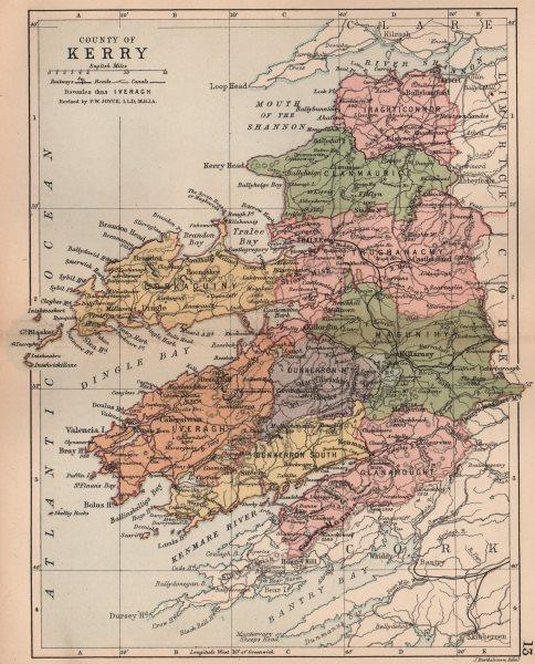 COUNTY KERRY. Antique county map. Munster. Ireland. BARTHOLOMEW 1882 old