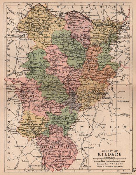 Associate Product COUNTY KILDARE. Antique county map. Leinster. Ireland. BARTHOLOMEW 1882