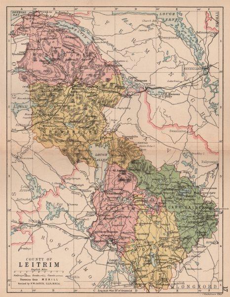 COUNTY LEITRIM. Antique county map. Connaught. Ireland. BARTHOLOMEW 1882