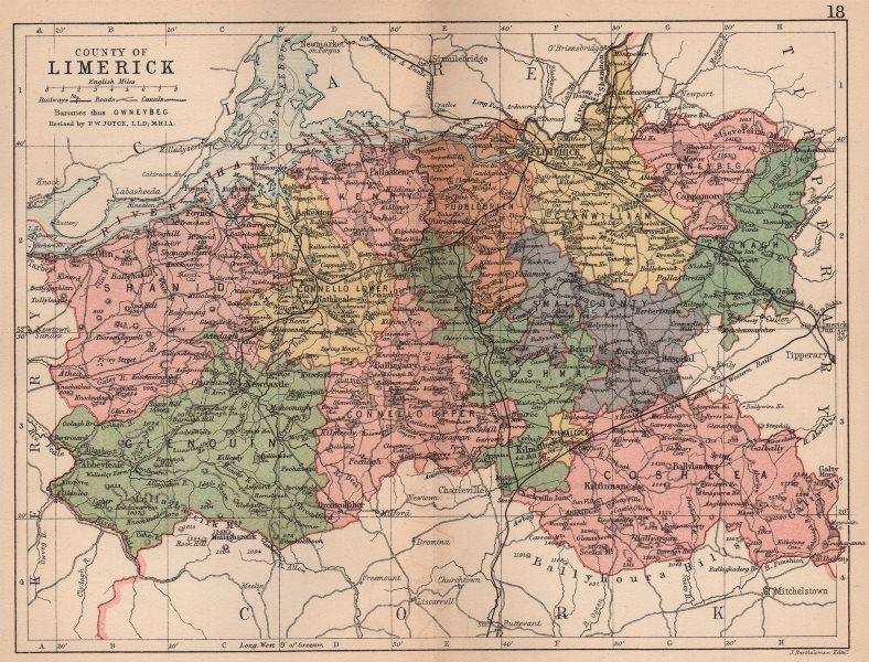 Associate Product COUNTY LIMERICK. Antique county map. Munster. Ireland. BARTHOLOMEW 1882