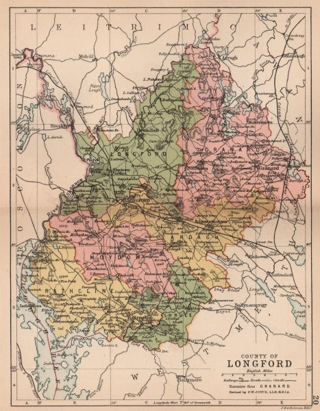 Associate Product COUNTY LONGFORD. Antique county map. Leinster. Ireland. BARTHOLOMEW 1882