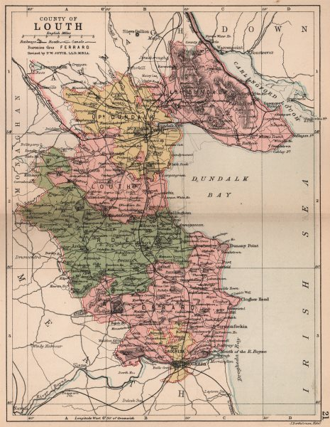 Associate Product COUNTY LOUTH. Antique county map. Leinster. Ireland. BARTHOLOMEW 1882 old