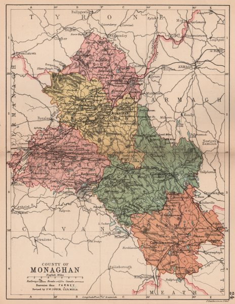 Associate Product COUNTY MONAGHAN. Antique county map. Ulster. Ireland. BARTHOLOMEW 1882 old