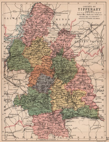Associate Product COUNTY TIPPERARY. Antique county map. Munster. Ireland. BARTHOLOMEW 1882