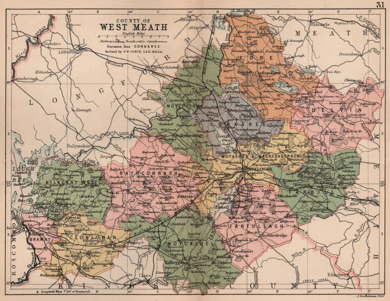 Associate Product COUNTY WESTMEATH. Antique county map. Leinster. Ireland. BARTHOLOMEW 1882