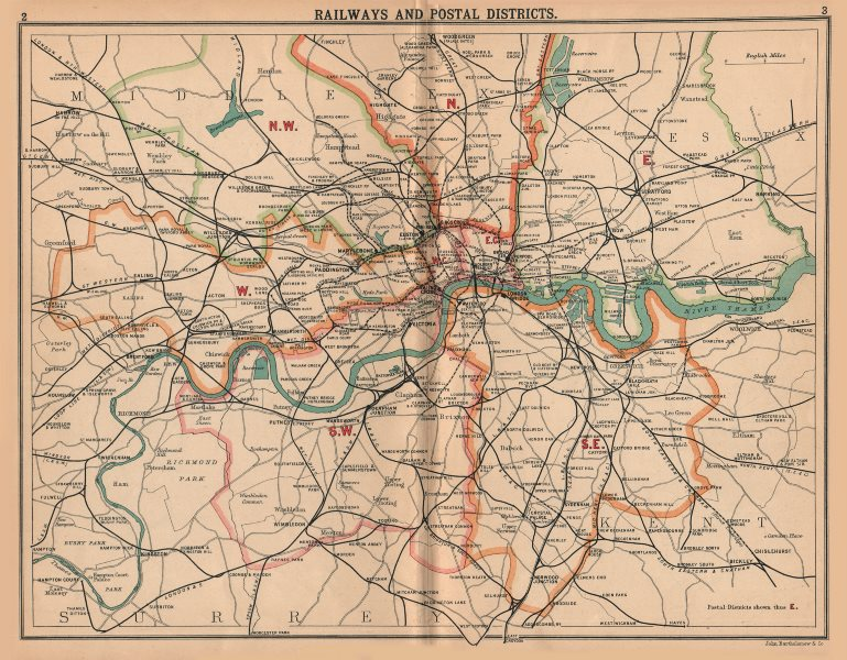 Associate Product LONDON.Railways Postal Districts.Underground tube lines.Bus tram routes 1913 map
