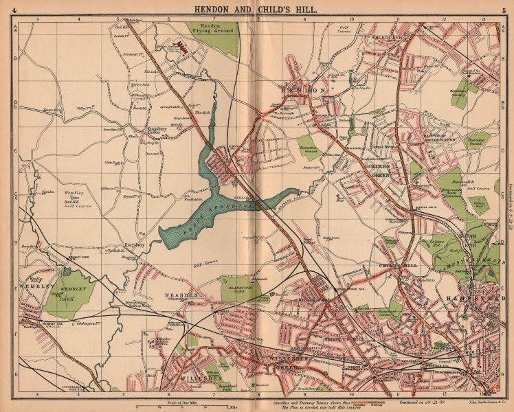 LONDON NW.Hendon Child's Hill Hampstead Wembley Golders Green Willesden 1913 map