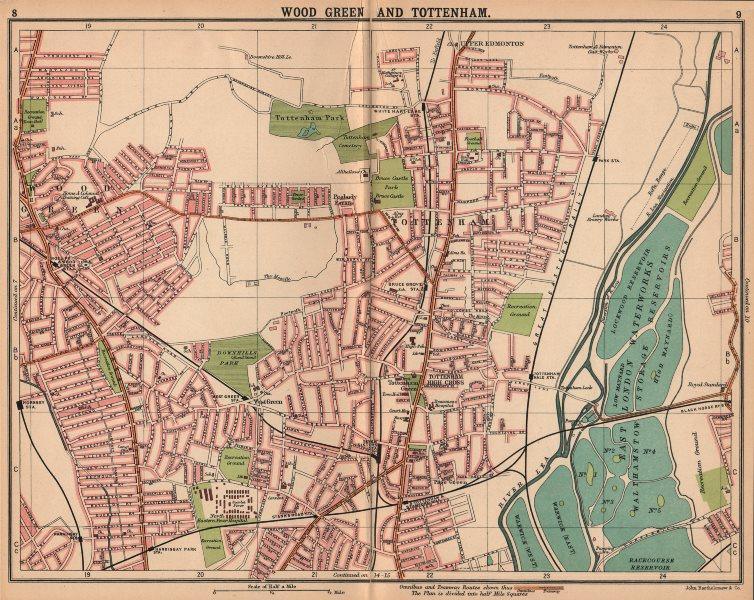 LONDON N. Wood Green Tottenham Harringay. Bus & tram routes 1913 old map