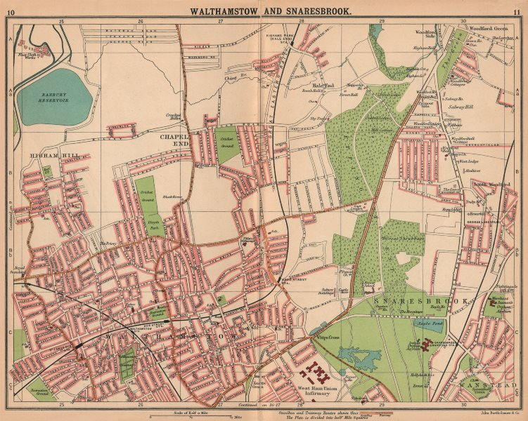 LONDON NE. Walthamstow Snaresbrook Chapel End. Bus & tram routes 1913 old map