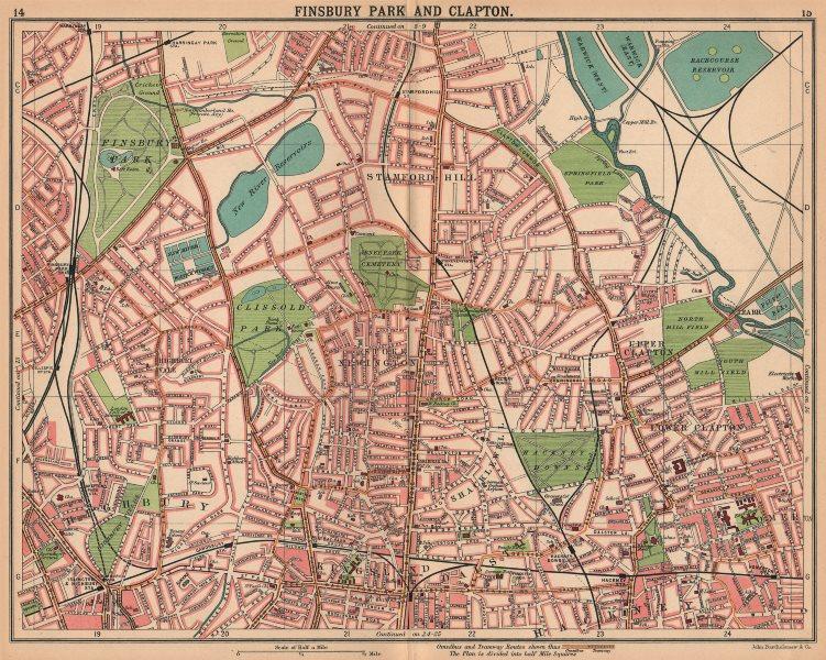 Associate Product LONDON N.Finsbury Park Clapton Highbury Stamford Hill Kingsland Dalston 1913 map