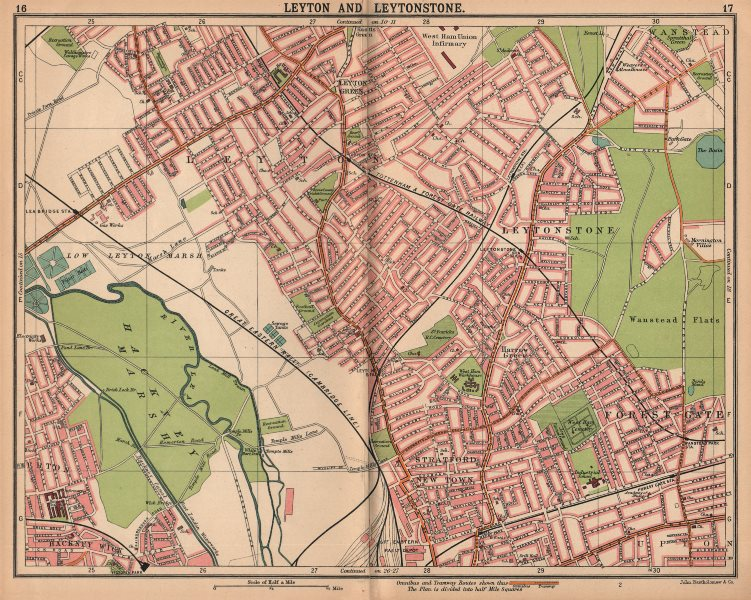 Associate Product LONDON NE. Leyton Leytonstone Stratford Forest Gate Wanstead Hackney 1913 map