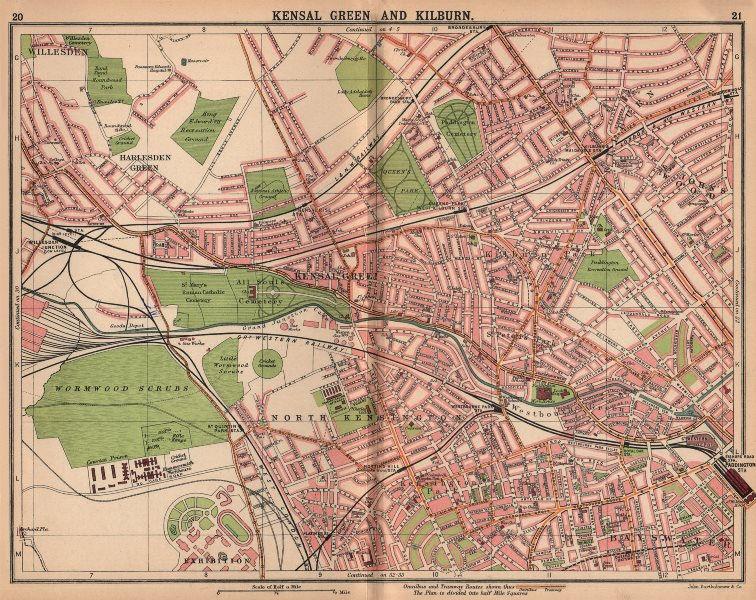 Associate Product LONDON. Kilburn St John's Wood Maida Vale Bayswater Notting Hill 1913 old map