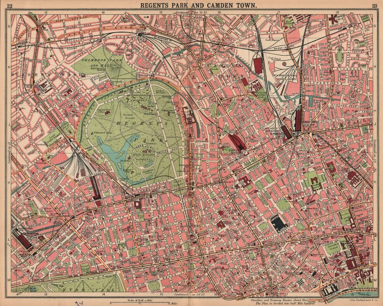 Associate Product LONDON. Regents Park Camden Town Marylebone St John's Wood Bloomsbury 1913 map