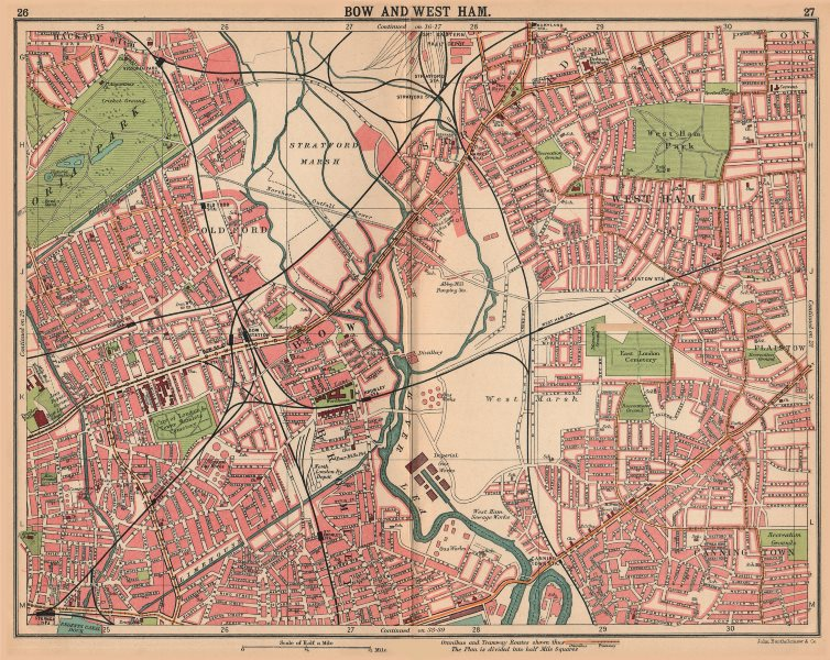 Associate Product LONDON E. Bow West Ham Bromley Stratford Old Ford. Bus & tram routes 1913 map