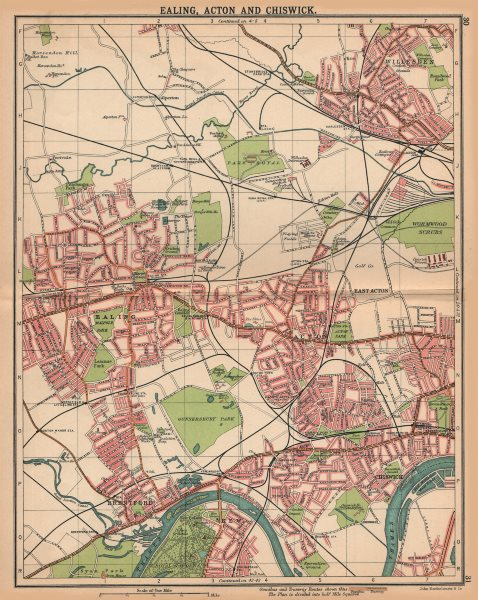 Associate Product LONDON W.Ealing Acton Chiswick Kew Brentford Willesden.Bus/tram routes 1913 map