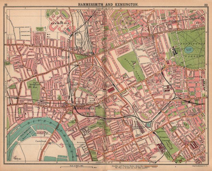 Associate Product LONDON.Hammersmith Kensington Shepherd's Bush Earl's Court Notting Hill 1913 map