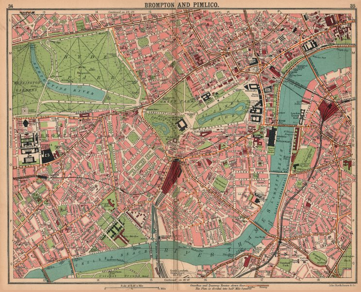 Associate Product LONDON. Brompton Pimlico Mayfair Westminster Chelsea Lambeth West End 1913 map
