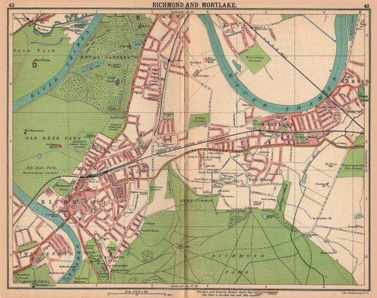 Associate Product LONDON SW.Richmond Mortlake Kew Twickenham Barnes Sheen.Bus/tram routes 1913 map