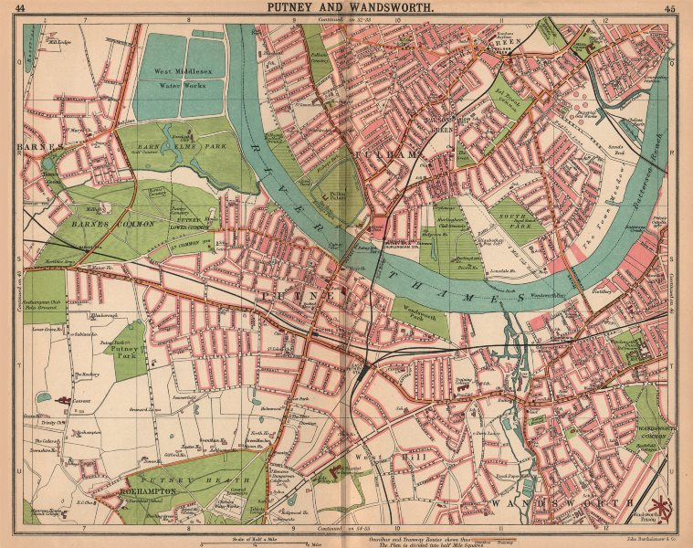 Associate Product LONDON SW. Putney Wandsworth Fulham Barnes Parson's Green. Tram routes 1913 map