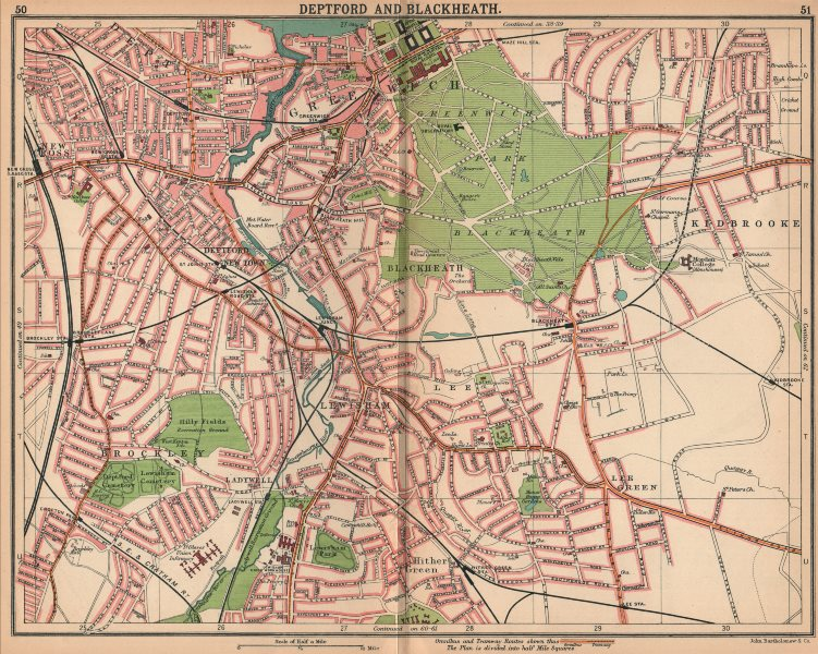 Associate Product LONDON SE. Deptford Blackheath Greenwich Kidbrooke Brockley New Cross 1913 map