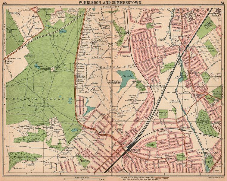 Associate Product LONDON SW.Wimbledon Summerstown Southfields Wandsworth.Bus/tram routes 1913 map