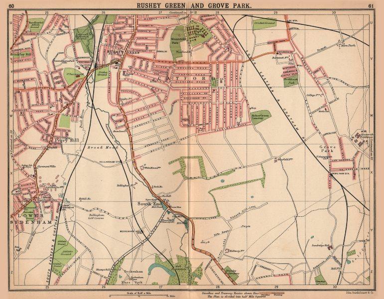 LONDON SE. Rushey Green Grove Park Catford Sydenham. Bus & tram routes 1913 map