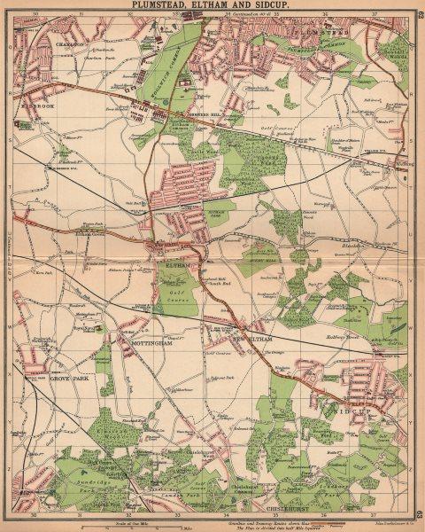 Associate Product LONDON SE. Plumstead Eltham Sidcup Mottingham Kidbrook Chislehurst 1913 map