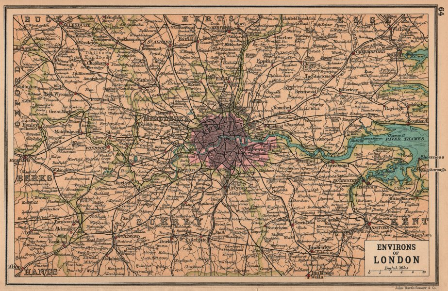Associate Product LONDON & HOME COUNTIES. Railways & roads. BARTHOLOMEW 1913 old antique map