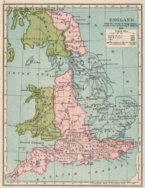 ENGLAND IN 878. On Treaty of Chippenham/Wedmore. Norse English Celtic 1907 map