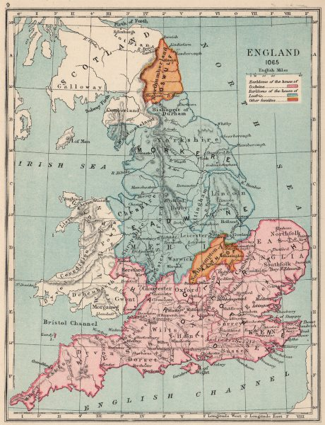 Associate Product ENGLAND IN 1065. Earldoms of Godwine Leofric Oswulf Waltheof 1907 old map
