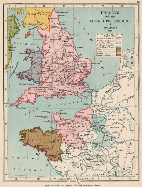 Associate Product NORMANS. William the Conqueror's lands in France & England 1087 1907 old map