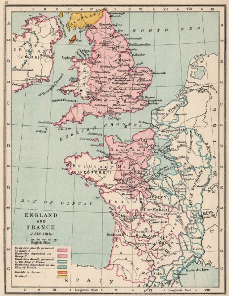 Associate Product ENGLAND & FRANCE JULY 1185. Kingdoms & dependencies.English possessions 1907 map