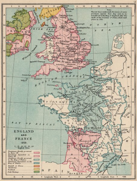 Associate Product ENGLAND & FRANCE. Kingdoms & dependencies in 1259. English possessions 1907 map